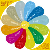 Colorful calendar for 2018. flower design,. Each month in a petal. Week starts on Sunday Royalty Free Stock Photo