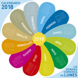 Colorful calendar for 2018, flower design. Spanish Language, Week starts on Monday Royalty Free Stock Photography