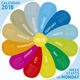 Colorful calendar for 2018. flower design, Week starts on Monday. Colorful calendar for 2018. flower design, each month in a petal. Week starts on Monday Stock Images
