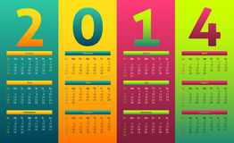 Colorful 2014 calendar. Colorful and gradient style calendar for year 2014 Stock Images