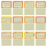 Colorful calendar 2017 hand painted in the style of floral patterns and doodle. First day Sunday. Ornate, elegant and intricate st. Yle. goals for the month, a Stock Images