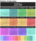 2016 colorful calendar. Illustration of 2016 calendar italian with holidays Royalty Free Stock Photos