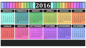2016 colorful calendar. Illustration of 2016 calendar italian with holidays Royalty Free Stock Photo