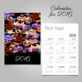 Colorful calendar 2016 with image of marine life. And space for your logo Stock Image