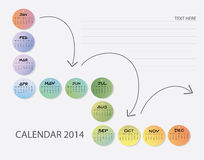 Colorful calendar. 2014 : January to December : Illustration stock illustration