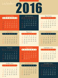 Colorful 2016 calendar Stock Photo