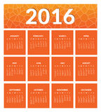 Colorful calendar for new year 2016. 12 months, dates, days of week. Orange color. Vector Stock Photography