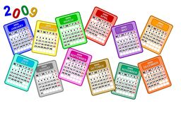 Colorful calendar pages 2009. Colorful 2009 calendar pages in scattered rows isolated on a white background with text 2009 Stock Photos