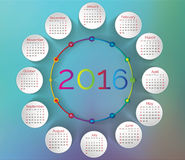 2016- Colorful Calendar. 2016 Rainbow calendar in us style, start on sunday, each month with individual table Stock Photography