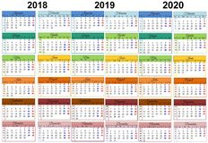 Colorful Calendar 2018 2019 2020 Romanian. Pattern 3 years stock illustration