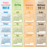 Colorful 2015 Calendar on seasons. Colorful 2015 Calendar designed with Happy new year text. Week begin with Sunday Stock Photography