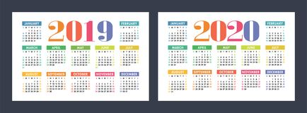 Colorful calendar set 2019, 2020. Bright, fun, cute. Week starts on Sunday. Motley, varicoloured ready design royalty free illustration