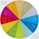 Colorful calendar for 2018 in Spanish. Circular design. royalty free stock photo