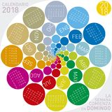 Colorful calendar for 2018 in Spanish. Circular design. Week starts on Sunday Stock Photo