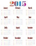 Colorful calendar for 2015. Starts sunday royalty free illustration