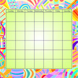 Colorful Calendar Template. Green calendar template with colorful border with different pattern Stock Photo