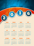 Colorful 2016 calendar template with arrow background. Colorful 2016 calendar template design with abstract arrow background Royalty Free Stock Image