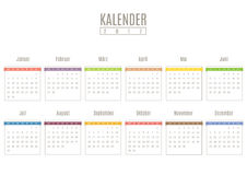 Colorful calendar template on German language Royalty Free Stock Images