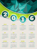 Colorful 2016 calendar template with triangle background. Colorful 2016 calendar template design with abstract triangle background Stock Photos