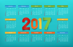 Colorful calendar template for a year 2017. Vector illustration Vector Illustration