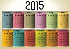Colorful Calendar. 2015 in us style, start on sunday, each month with individual table vector illustration