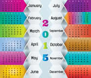 Colorful Calendar-2015. Colorful 2015 calendar in us style, start on sunday, each month with individual table Royalty Free Stock Photography
