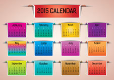 2015- Colorful Calendar. Colorful 2015 calendar in us style, start on sunday, each month with individual table Royalty Free Stock Images