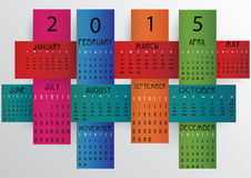 Colorful Calendar-2015. Colorful 2015 calendar in us style, start on sunday, each month with individual table Stock Photography