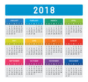 2018 Colorful Calendar. Calendar vector design and template. Isolated background Royalty Free Stock Images
