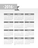 Colorful 2016 Calendar. Vector graphic template vector illustration