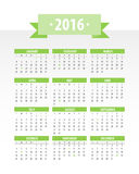 Colorful 2016 Calendar. Vector graphic template stock illustration