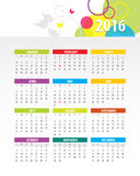 Colorful 2016 Calendar. Vector graphic template royalty free illustration