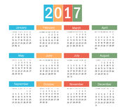 Colorful Calendar of 2017 - Vector. Colorful Calendar of New Year 2017 - Vector EPS10 Stock Illustration