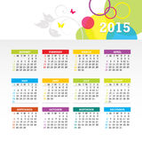 Colorful 2015 Calendar Vector. Colorful 2015 Calendar. Week starts with sunday. Vector graphic template Stock Photo