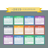 Colorful 2015 Calendar Vector. Colorful 2015 Calendar. Week starts with sunday. Vector graphic template Stock Photography