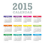Colorful 2015 Calendar Vector. Colorful 2015 Calendar. Week starts with sunday. Vector graphic template Royalty Free Illustration