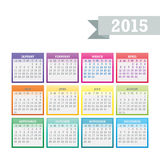 Colorful 2015 Calendar Vector. Colorful 2015 Calendar. Week starts with sunday. Vector graphic template Royalty Free Stock Photos