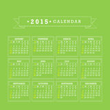Colorful 2015 Calendar Vector. Colorful 2015 Calendar. Week starts with sunday. Vector graphic template Royalty Free Stock Photo
