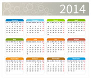 Colorful 2014 calendar. Week starts at monday vector illustration