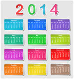 Colorful calendar for 2014. Week starts with sunday Vector Illustration