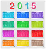 Colorful calendar for 2015. Week starts with sunday Vector Illustration