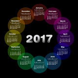 Colorful calendar for 2017. Week starts on sunday royalty free illustration