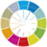 Colorful calendar for 2018. Week starts on Sunday. Colorful calendar for 2018. Circular design. Week starts on Sunday Stock Photo