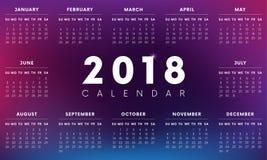 Colorful 2018 Calendar. Weeks start with Sunday. Vector illustration. Colorful 2018 Calendar. Weeks start with Sunday Stock Photo