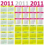 Colorful Calendar for Year 2011 Royalty Free Stock Photos