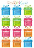 Colorful Calendar For Year 2011. 2011 colorful calendar with cute gift boxes royalty free illustration