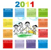 Colorful Calendar for Year 2011. Illustration Stock Images