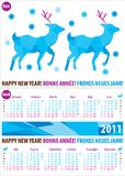 Colorful calendar for year 2011 with deer Stock Image