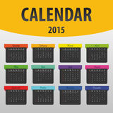 Colorful calendar 2015 year. banner template. Vector Royalty Free Stock Images