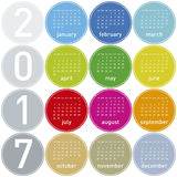 Colorful Calendar for year 2017 in a circles theme. In vector format Royalty Free Stock Photos